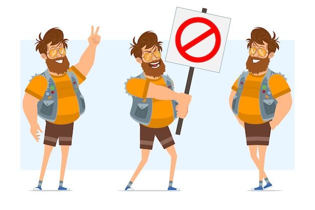 Stripfiguur plat bebaarde dikke hipster man in jeans jerkin en zonnebril. klaar voor animatie. staande jongen, vredesteken en geen ingangsteken tonen. geïsoleerd op blauwe achtergrond.