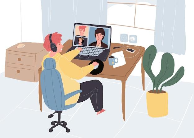 Stripfiguur plat freelancer online gesprek met collega's.
