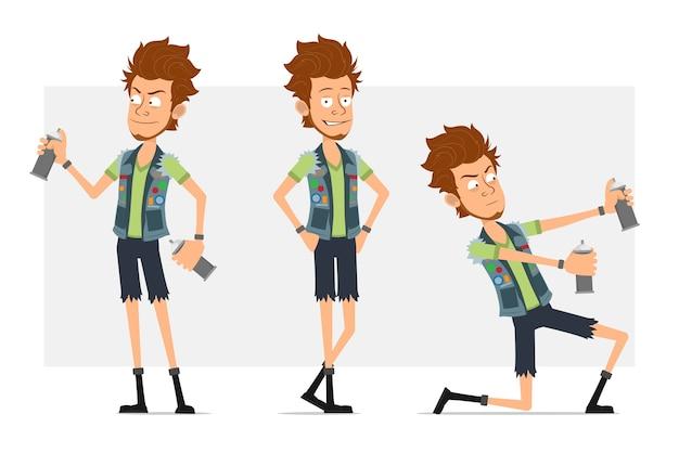 Stripfiguur plat grappige bebaarde hipster man in jeans korte broek en jerkin