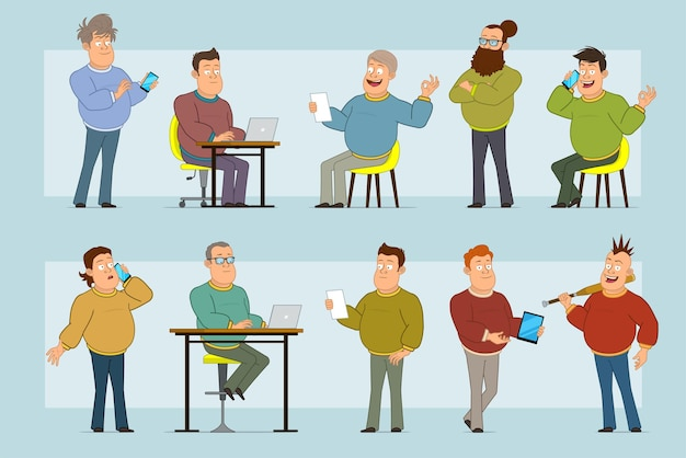 Stripfiguur plat grappige dikke lachende man in spijkerbroek en trui. de nota van de jongenslezing die aan laptop werkt en over telefoon spreekt