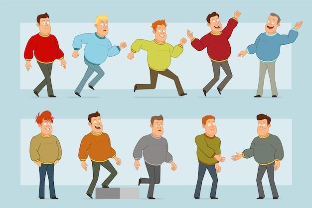 Stripfiguur plat grappige dikke lachende man in spijkerbroek en trui. jongen handen schudden, rennen en lopen naar zijn doel