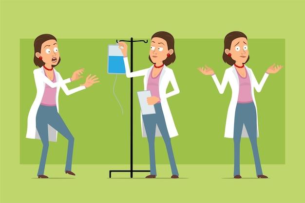 Stripfiguur plat grappige dokter vrouw in wit uniform. meisje dat met medische druppelteller werkt en document vasthoudt. klaar voor animatie. geïsoleerd op groene achtergrond. set.