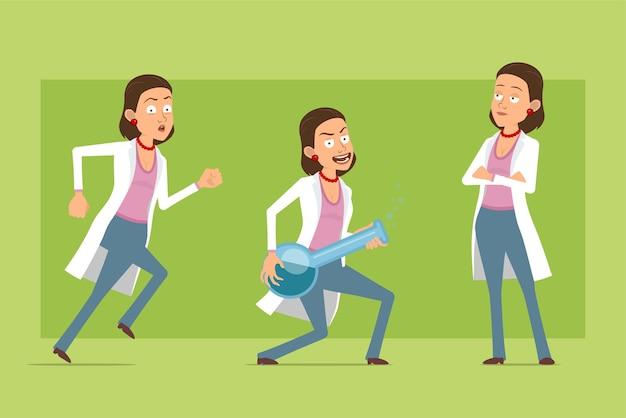 Stripfiguur plat grappige dokter vrouw in wit uniform. meisje loopt en houdt chemische kolf met vloeistof. klaar voor animatie. geïsoleerd op groene achtergrond. set.