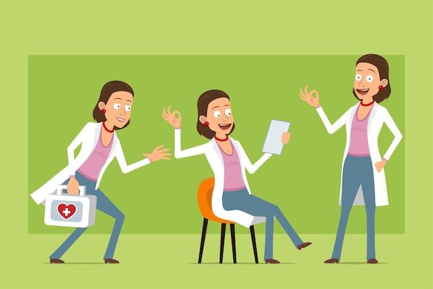 Stripfiguur plat grappige dokter vrouw in wit uniform. meisje met ehbo-kit, nota lezen en goed teken tonen. klaar voor animatie. geïsoleerd op groene achtergrond. set.