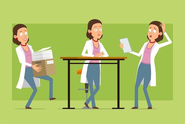Stripfiguur plat grappige dokter vrouw in wit uniform. meisje met papieren doos en nota lezen. klaar voor animatie. geïsoleerd op groene achtergrond. set.
