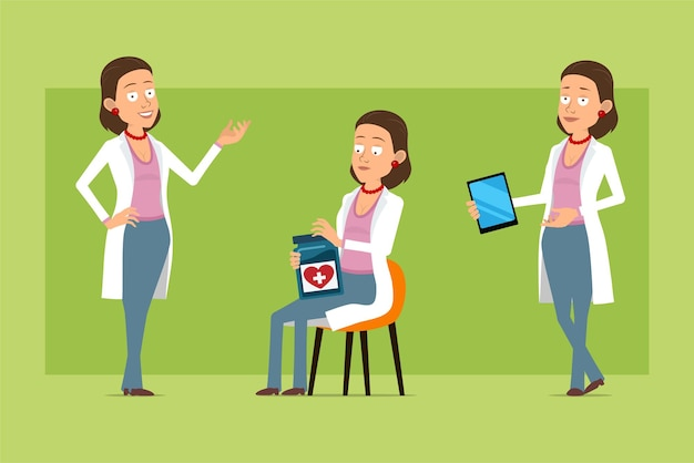 Stripfiguur plat grappige dokter vrouw in wit uniform. meisje poseren, medische pot en slimme tablet te houden. klaar voor animatie. geïsoleerd op groene achtergrond. set.