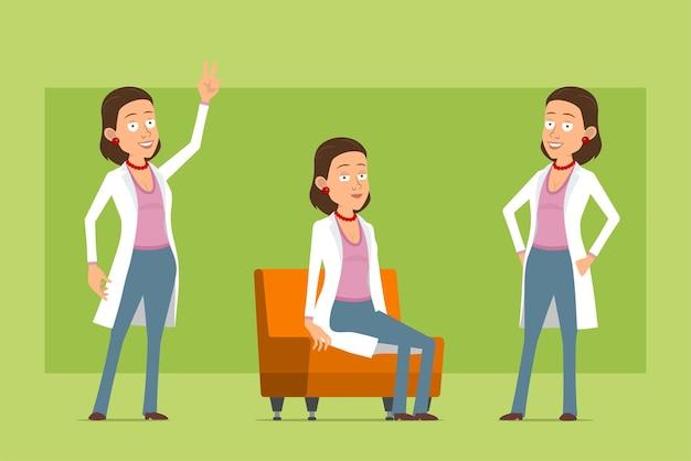 Stripfiguur plat grappige dokter vrouw in wit uniform. meisje poseren, rusten en vredesteken tonen. klaar voor animatie. geïsoleerd op groene achtergrond. set.