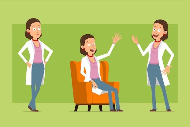 Stripfiguur plat grappige dokter vrouw in wit uniform. meisje poseren, rusten en welkom gebaar tonen. klaar voor animatie. geïsoleerd op groene achtergrond. set.