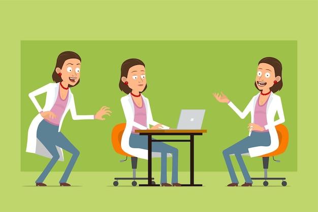 Stripfiguur plat grappige dokter vrouw in wit uniform. meisje poseren voor foto en werken op laptop. klaar voor animatie. geïsoleerd op groene achtergrond. set.