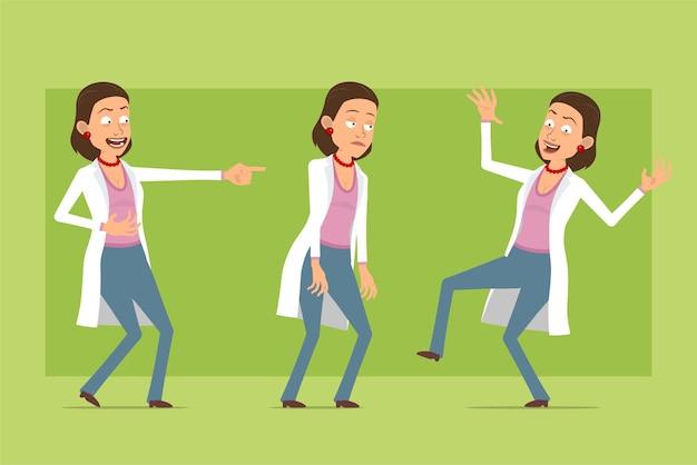 Stripfiguur plat grappige dokter vrouw in wit uniform. meisje verdrietig, moe, lachen en dansen. klaar voor animatie. geïsoleerd op groene achtergrond. set.