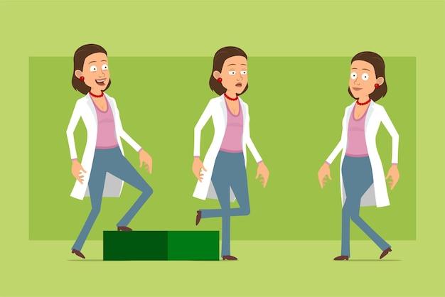 Stripfiguur plat grappige dokter vrouw in wit uniform. succesvol moe meisje dat naar zijn doel loopt. klaar voor animatie. geïsoleerd op groene achtergrond. set.