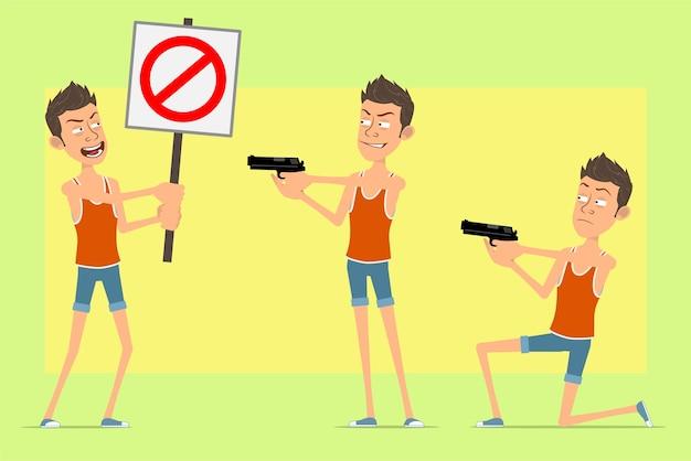 Stripfiguur plat grappige man in singlet en korte broek. jongen die uit pistool schiet en geen stopbord houdt.