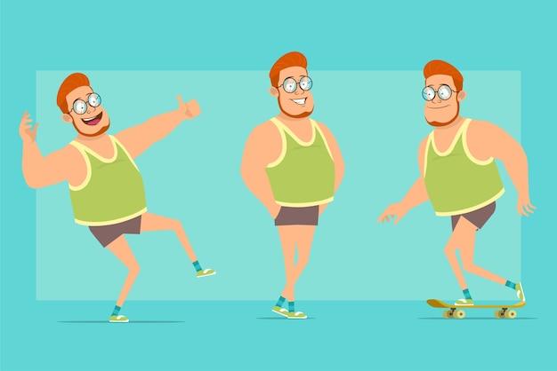 Stripfiguur plat grappige roodharige dikke jongen in glazen, singlet en korte broek. jongen springen, rijden op skateboard en duimen opdagen.