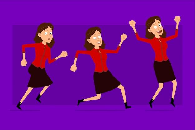 Stripfiguur plat grappige schattige zakelijke vrouw in rood shirt. klaar voor animaties. succesvol meisje dat naar haar doel rent. geïsoleerd op violette achtergrond. grote pictogramserie.
