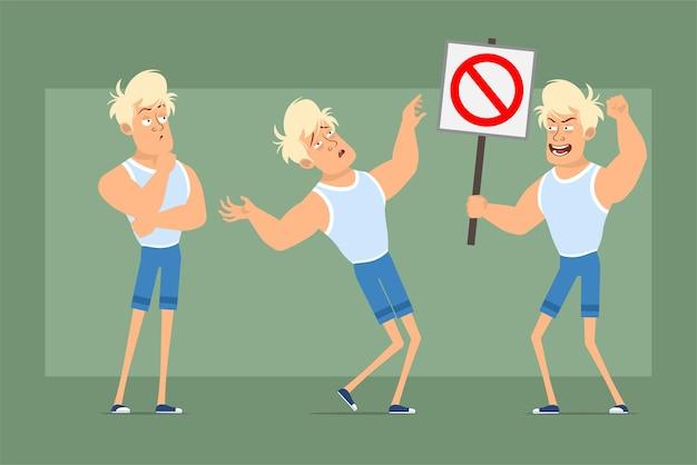 Stripfiguur plat grappige sterke blonde sportman in onderhemd en korte broek. jongen denken en houden geen stopbord. klaar voor animatie. geïsoleerd op groene achtergrond. set.