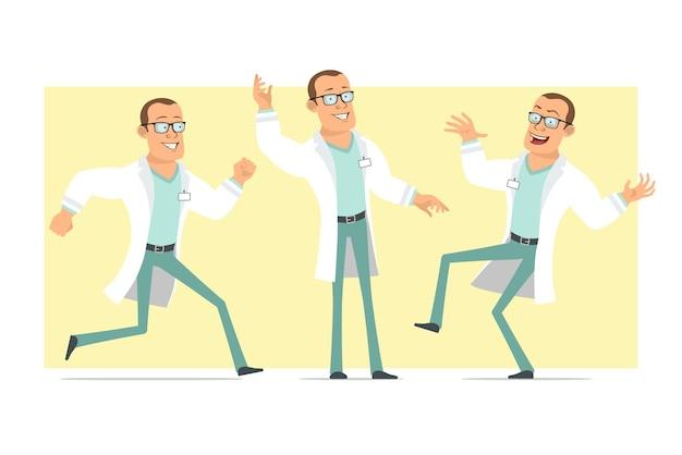 Stripfiguur plat grappige sterke dokter man in wit uniform en glazen. jongen dansen, springen en rennen. klaar voor animatie. geïsoleerd op gele achtergrond. set.