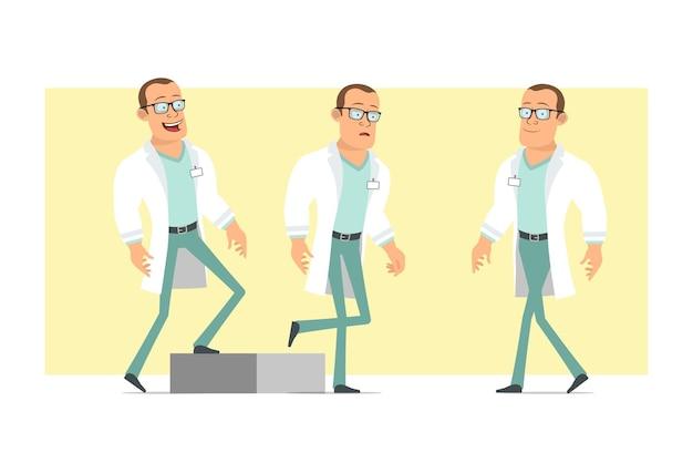 Stripfiguur plat grappige sterke dokter man in wit uniform en glazen. succesvolle vermoeide jongen die naar zijn doel loopt. klaar voor animatie. geïsoleerd op gele achtergrond. set.