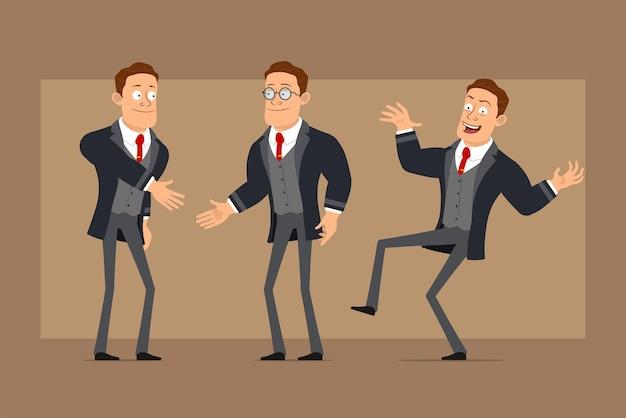 Stripfiguur plat grappige sterke zakenman in zwarte jas en stropdas. jongen dansen, springen en handen schudden.