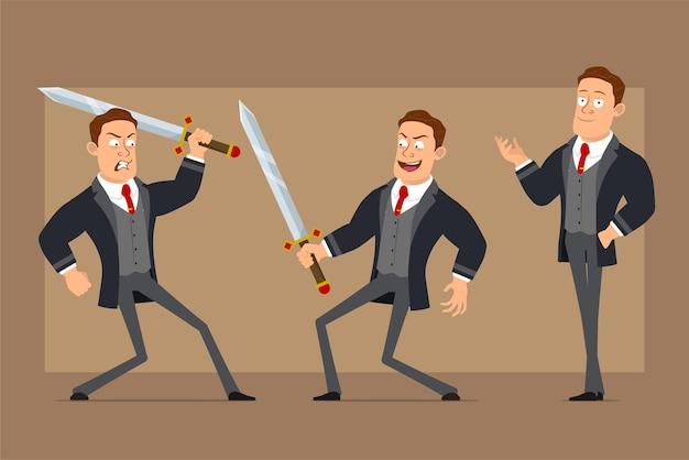 Stripfiguur plat grappige sterke zakenman in zwarte jas en stropdas. jongen poseren en vechten met grote ridderzwaarden.
