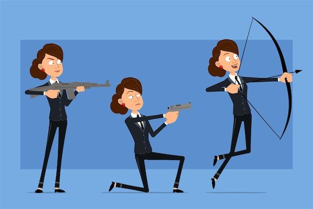 Stripfiguur plat grappige zakelijke vrouw in zwart pak met zwarte stropdas. meisje schieten uit boog, pistool en automatisch geweer.