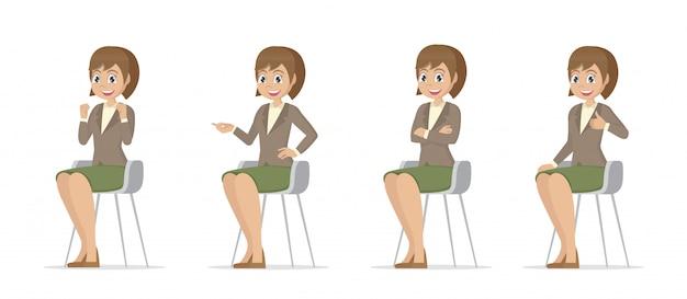 Stripfiguur poses, set vrouwen zitten op stoel.