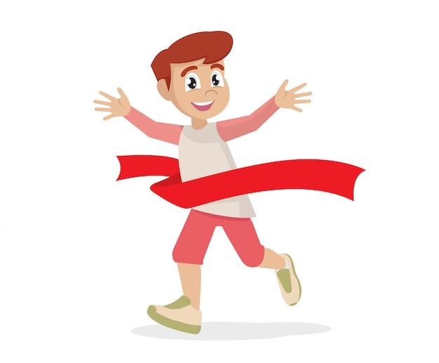 Stripfiguur poses, winnaar boy race. marathon winnaar