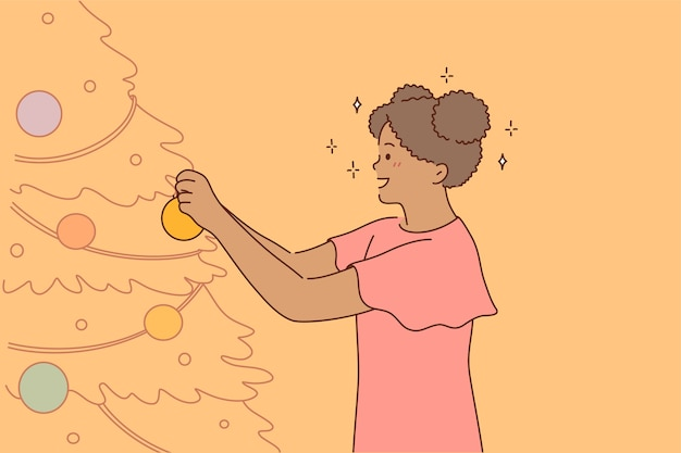 Stripfiguur staande kerstboom versieren