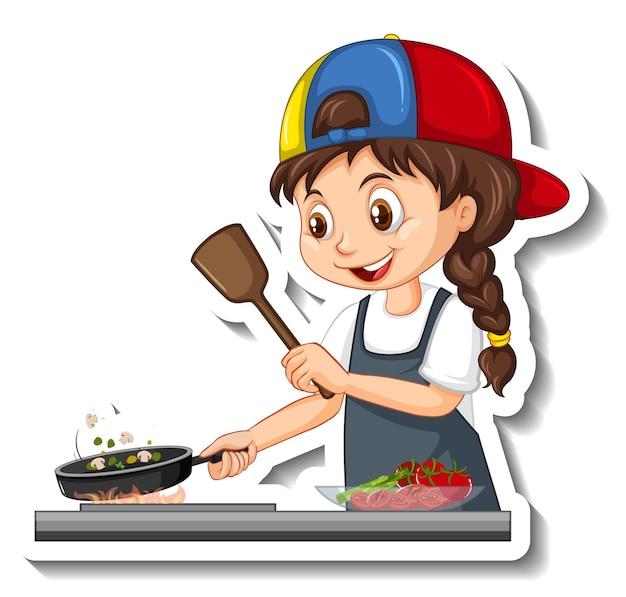 Stripfiguur sticker met chef-kok meisje koken