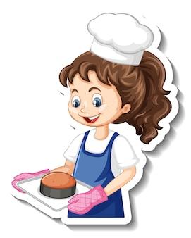 Stripfiguur sticker met chef-kok meisje met gebakken dienblad