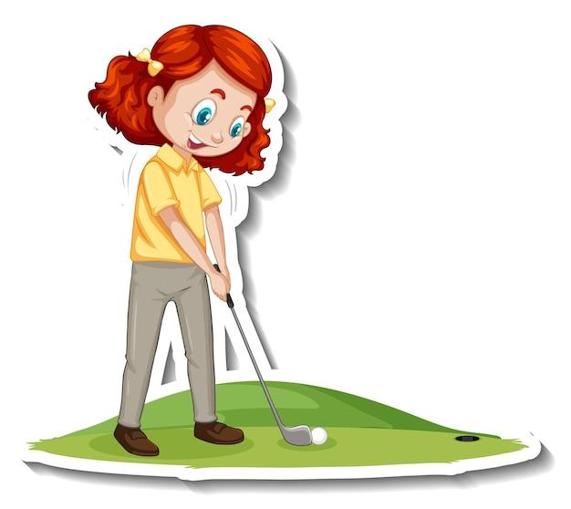Stripfiguur sticker met een meisje dat golf speelt