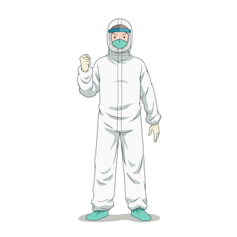 Stripfiguur van arts in beschermende kleding.