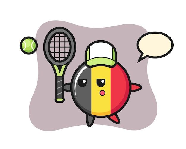 Stripfiguur van belgische vlag badge als tennisser