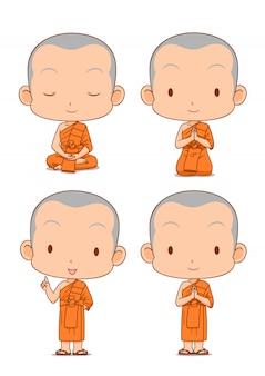 Stripfiguur van boeddhistische monniken in verschillende poses.