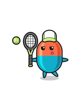 Stripfiguur van capsule als tennisser, schattig stijlontwerp voor t-shirt, sticker, logo-element