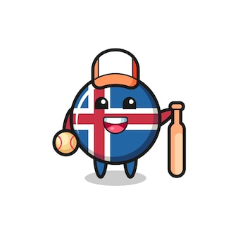 Stripfiguur van de vlag van ijsland als honkbalspeler, schattig ontwerp