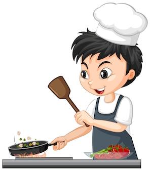 Stripfiguur van een chef-kok die voedsel kookt