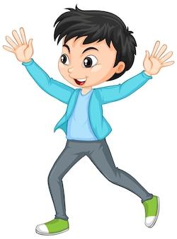 Stripfiguur van een gelukkige jongen die handen omhoog duwt