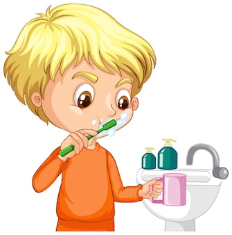 Stripfiguur van een jongen die tanden poetst met watergootsteen