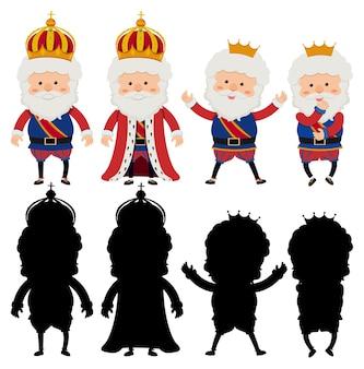 Stripfiguur van een koning met verschillende poses