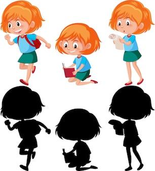 Stripfiguur van een meisje met verschillende poses met silhouet