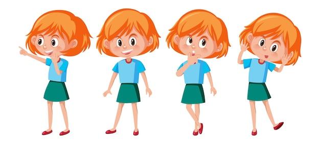Stripfiguur van een meisje met verschillende poses