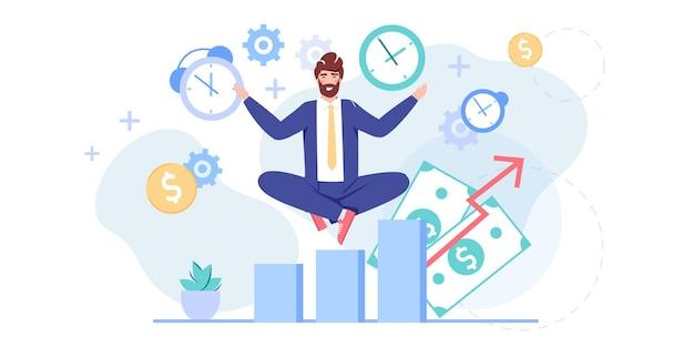 Stripfiguur van een platte kantoormedewerker mediteert