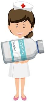 Stripfiguur van een verpleegster die een covid-19-vaccinfles vasthoudt