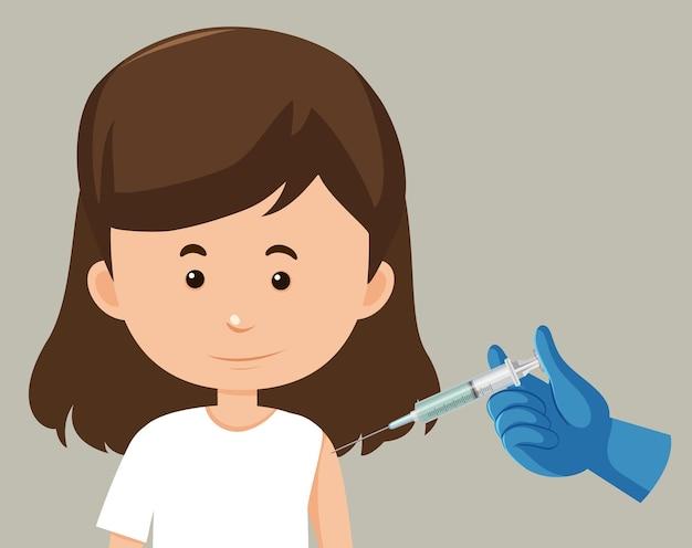 Stripfiguur van een vrouw die een vaccin krijgt