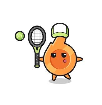 Stripfiguur van fluitje als tennisser, schattig ontwerp