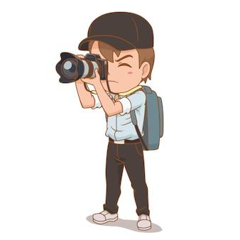 Stripfiguur van fotograaf.