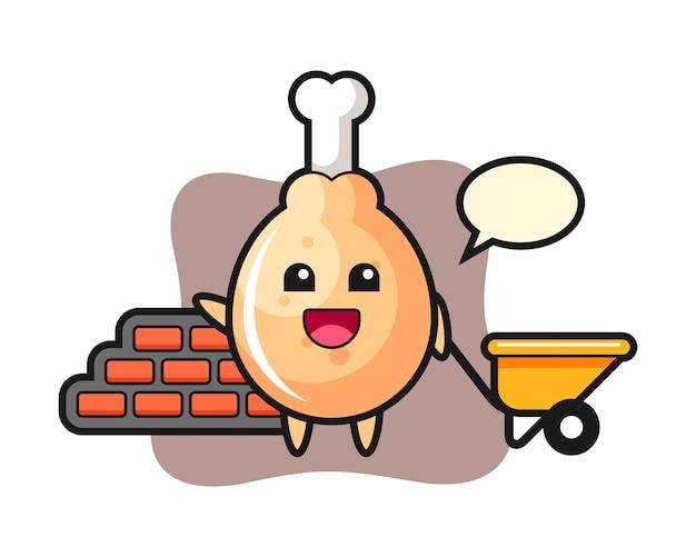 Stripfiguur van gebakken kip als bouwer
