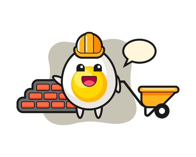 Stripfiguur van gekookt ei als bouwer