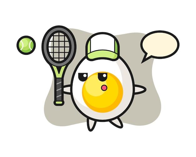 Stripfiguur van gekookt ei als een tennisser