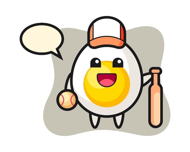 Stripfiguur van gekookt ei als honkbalspeler